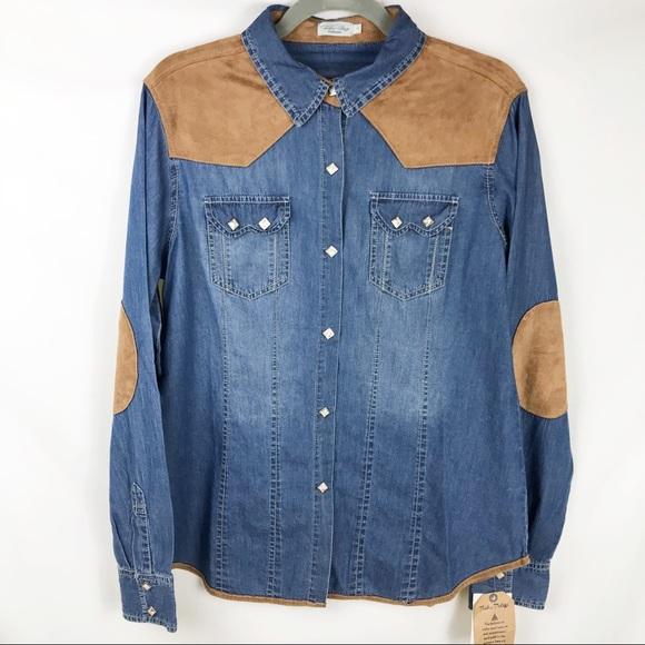 2f5047dd975 Tasha Polizzi Skyler Western Snap Shirt Faux Suede